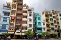 Colorful apartment housing in Ho Chi Minh City, Vietnam.